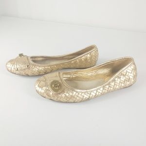 Coach Metallic Gold Flats Woven Turn Lock Buckle